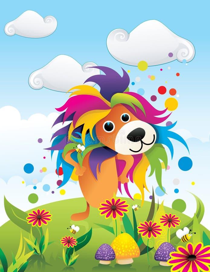 Colora o vetor abstrato do leão ilustração stock