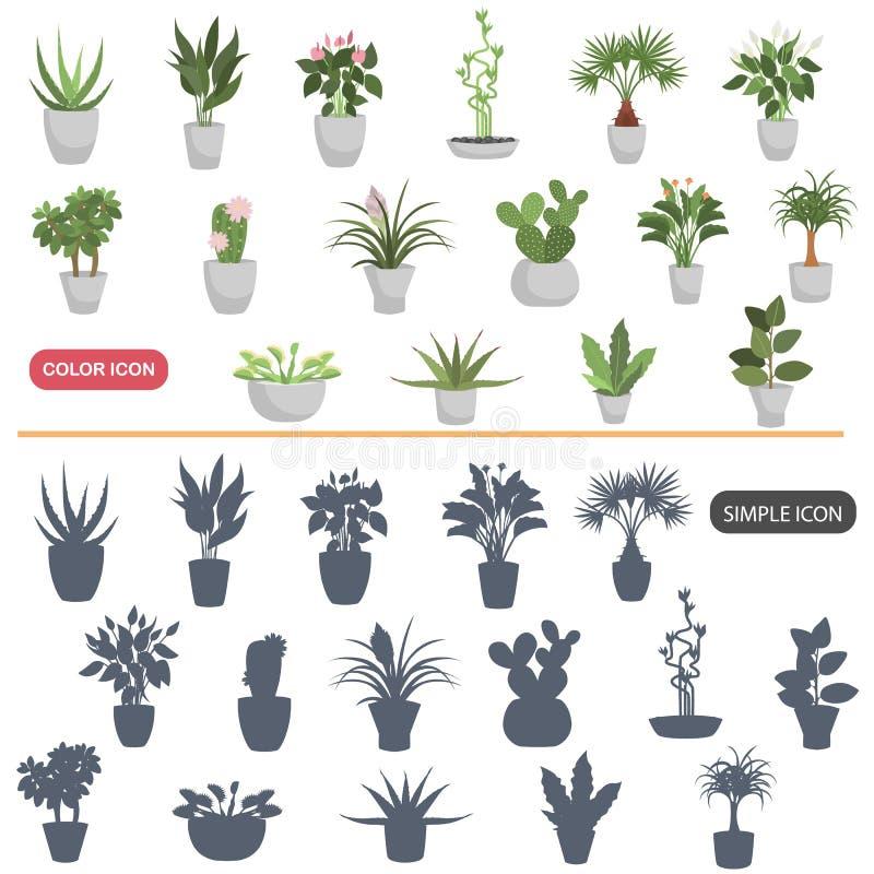 Colora os ícones lisos e simples das plantas da casa ajustados ilustração stock