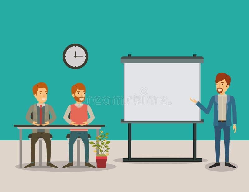 Colora os pares do fundo de homem que sentam-se em uma mesa para o conferente executivo em executivos do presentacion ilustração royalty free