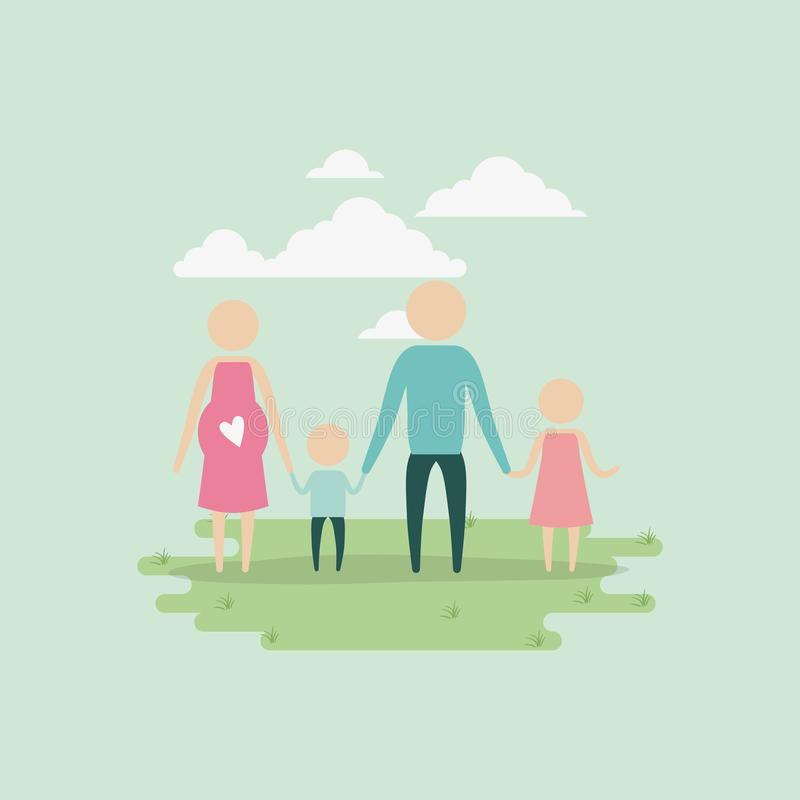Colora a paisagem e a grama com gravidez ajustada da mulher do pictograma da silhueta e o homem do céu do fundo que guarda as mão ilustração stock