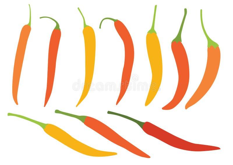 Colora a pimenta alaranjada amarela na ilustração branca do fundo ilustração royalty free