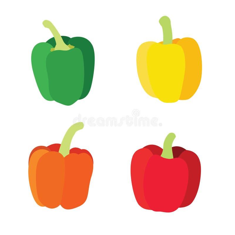 Colora a pimenta de sino verde vermelha alaranjada amarela isolada no fundo branco ilustração stock