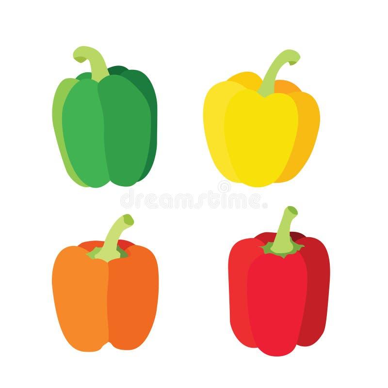 Colora a pimenta de sino verde vermelha alaranjada amarela isolada no vetor branco da ilustração do fundo ilustração do vetor