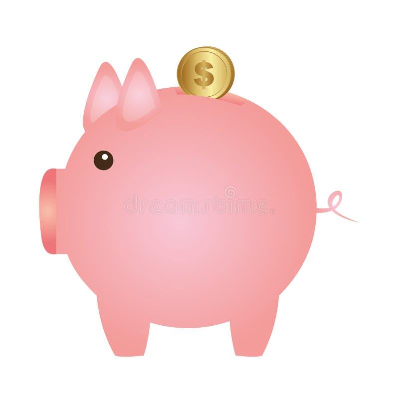 Colora a silhueta com a caixa de dinheiro na forma do porco ilustração do vetor