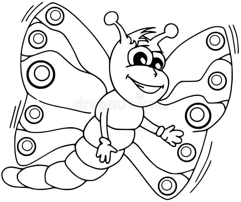 coloring pages of butterflies and caterpillars animated | Coloring Butterfly Cartoon Isolated Stock Illustration ...