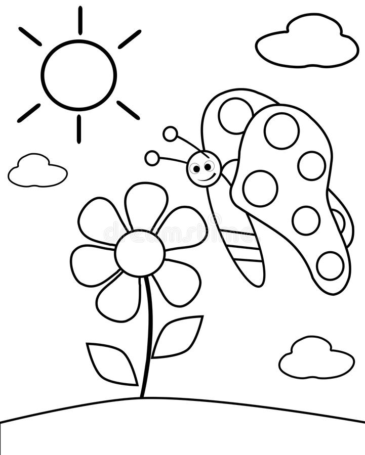 Download colorable butterfly stock photo illustration of child 32056464