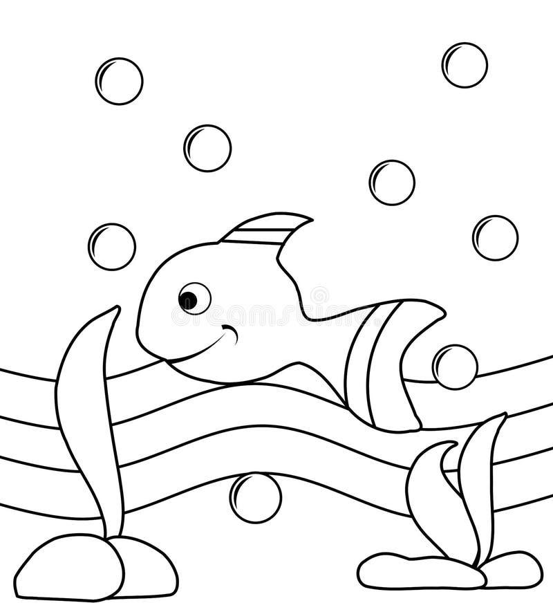 Colorable fisk vektor illustrationer