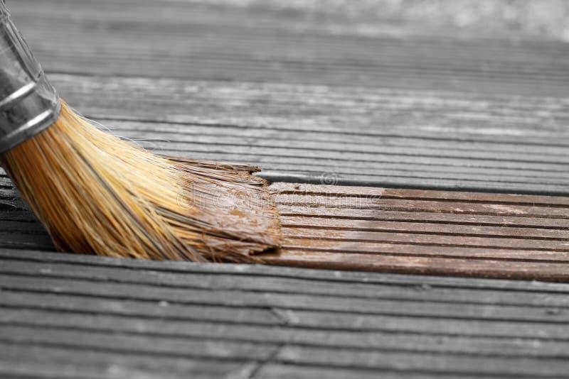Coloración de decking de madera en un jardín con una brocha imágenes de archivo libres de regalías