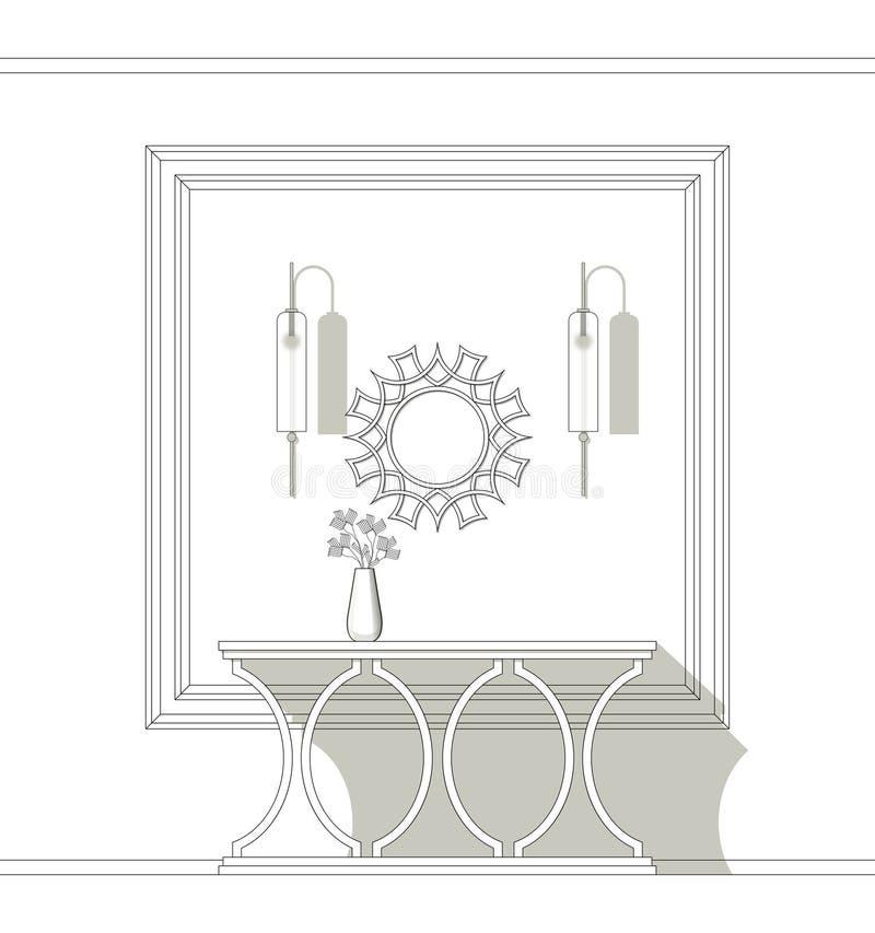 Coloración de la mesa de la consola con espejo y sujetador ilustración del vector