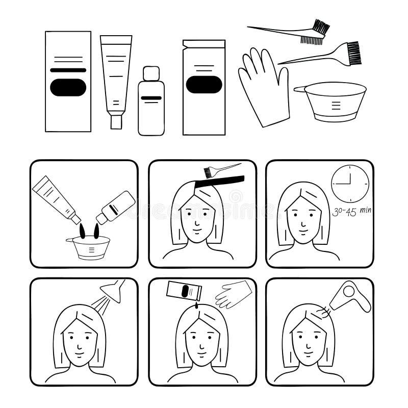 Coloración del cabello, accesorios y fuentes para los peluqueros ilustración del vector