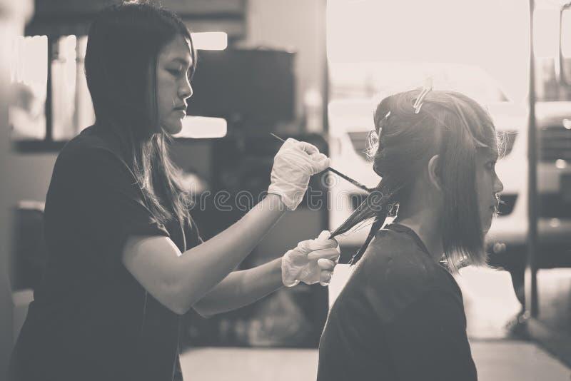 Coloración del cabello en un cierre de la práctica del salón de belleza para arriba, teñiendo imagenes de archivo