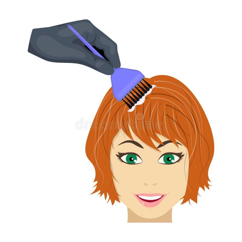 Coloración del pelo femenino en un peluquero Pelo que teñe el solo icono en web del ejemplo de la acción del símbolo del vector d stock de ilustración