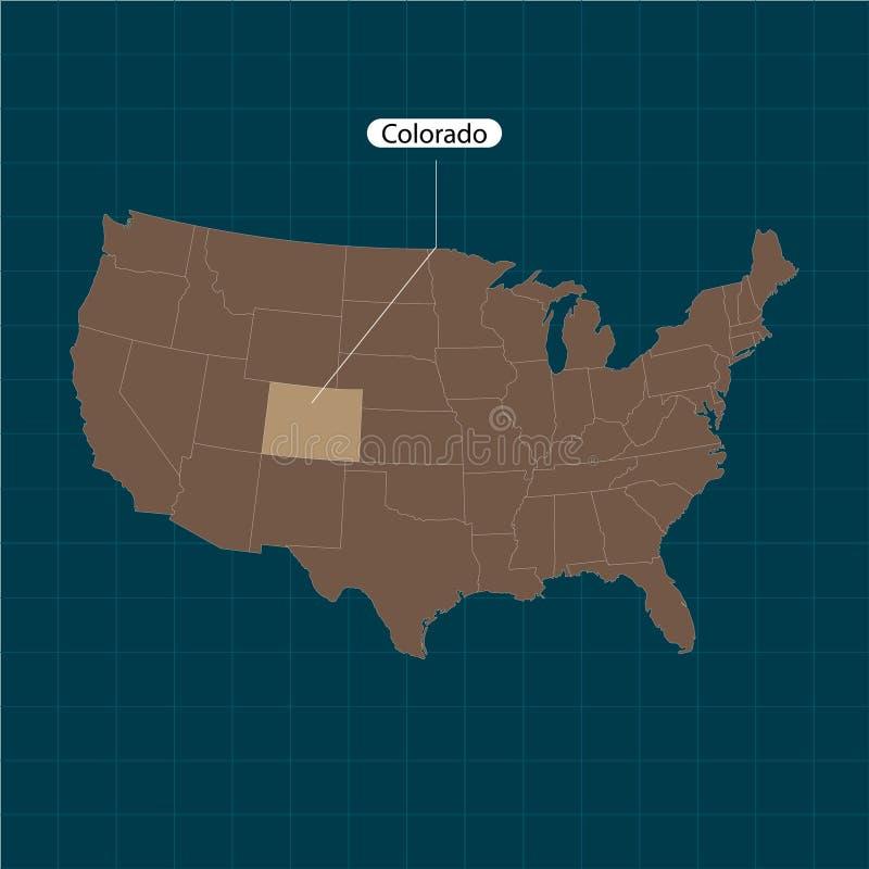 colorado Государства территории Америки на темной предпосылке Отдельное государство также вектор иллюстрации притяжки corel бесплатная иллюстрация