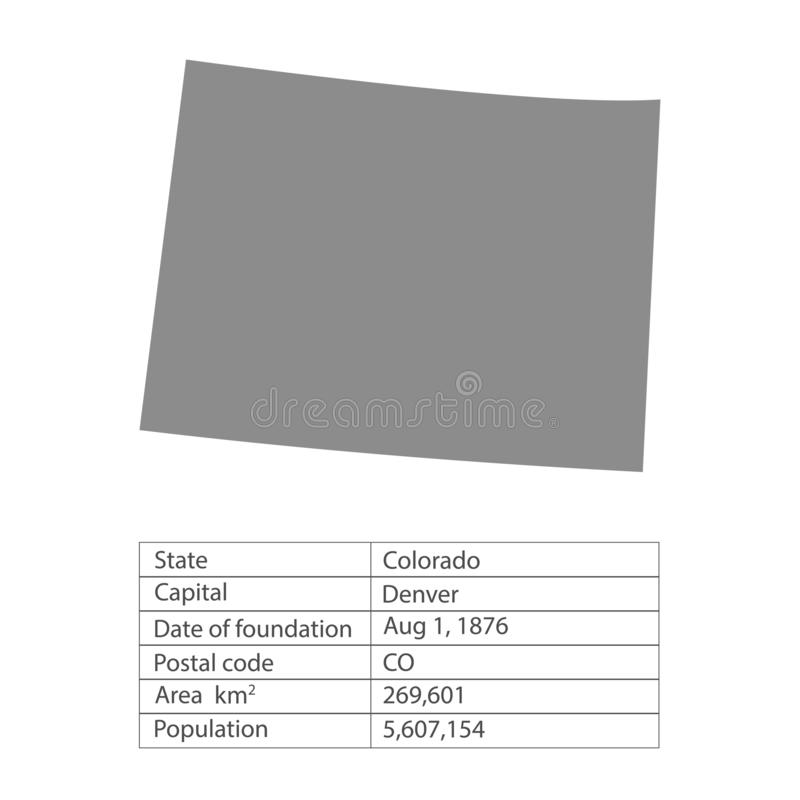 colorado Положения территории Америки на белой предпосылке Отдельное государство также вектор иллюстрации притяжки corel иллюстрация штока