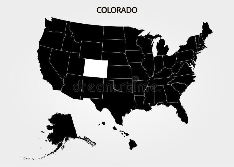 colorado Положения территории Америки на серой предпосылке Отдельное государство также вектор иллюстрации притяжки corel иллюстрация штока