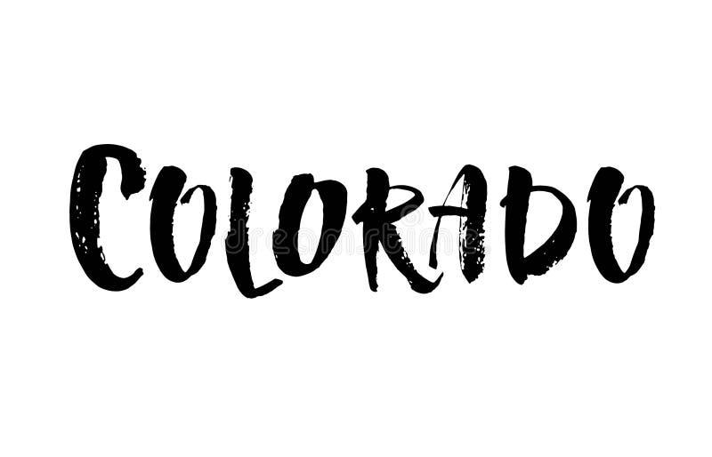 colorado Современная литерность щетки Ретро печать оформления Надпись вектора рукописная Положение США иллюстрация штока