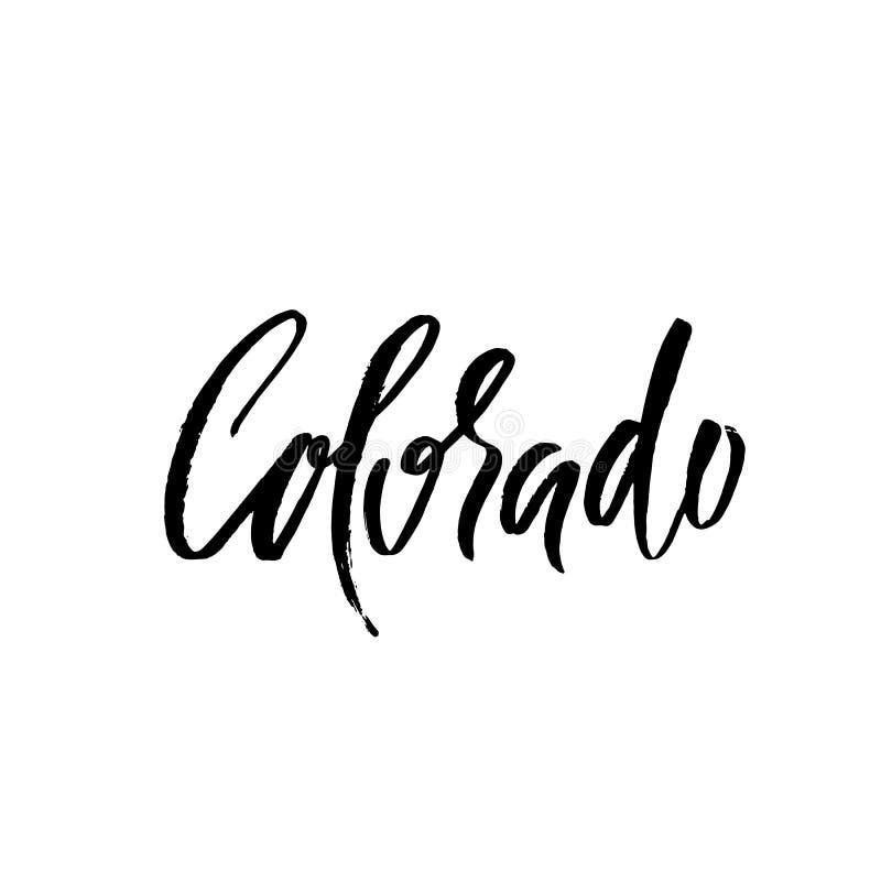colorado Современный высушите литерность щетки Ретро печать оформления Надпись вектора рукописная Положение США бесплатная иллюстрация