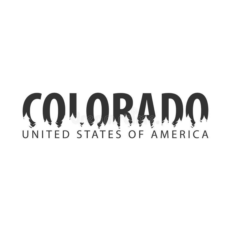 colorado США положения америки соединили Текст или ярлыки с силуэтом леса иллюстрация штока