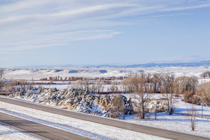 Colorado-Autobahn am Winter stockfotografie