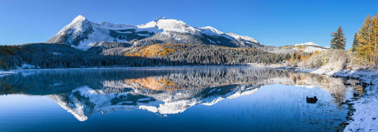 Colorado Autumn Color at Lost Lake on Kebler Pass. Autumn Color on Kebler Pass in the Colorado Rocky Mountains stock image