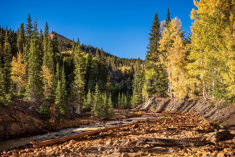 Red Mountain Creek at Sunrise - Autumn in the San Juan Mountains of Colorado royalty free stock photography