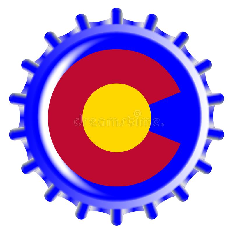 Colorado Bottle Cap. A typical metal glass bottle cap in Colorado state flag colors isolated on a white background stock illustration
