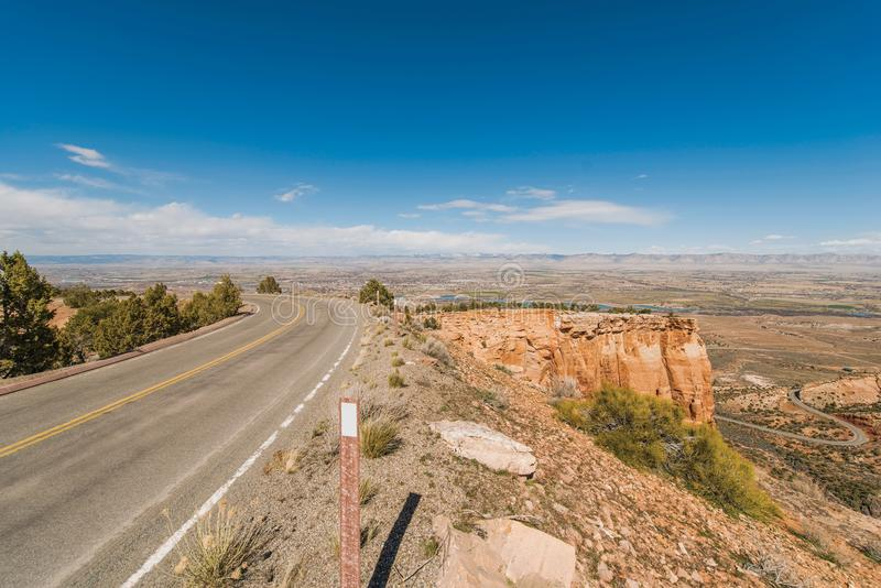 Colorado Cliff Road. Colorado National Monument Senic Curved Cliff Road with View on Fruita and Grand Junction, Colorado, United States royalty free stock images