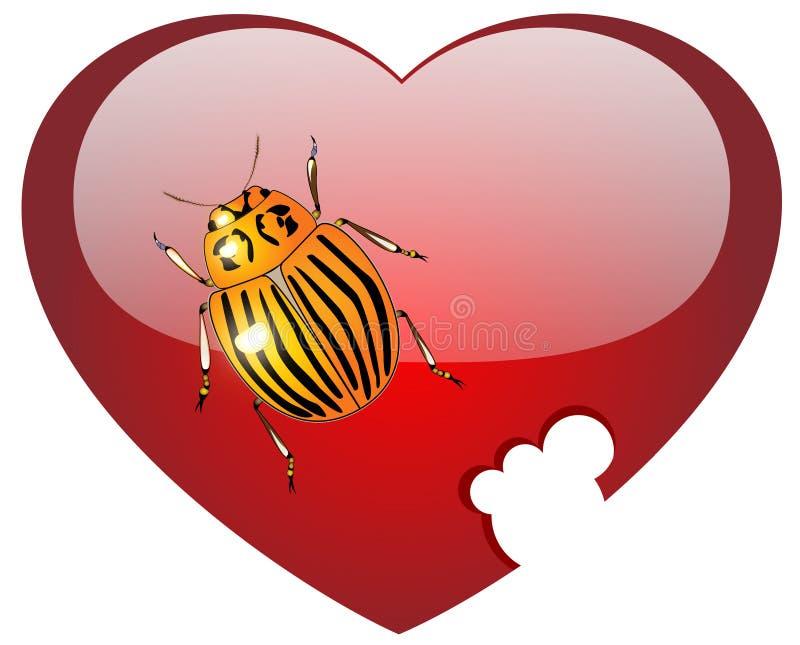 Colorado een insect op glas rood hart vector illustratie
