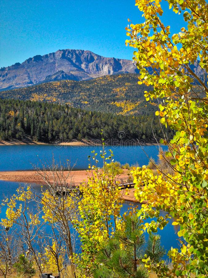 Colorado Fall Colors with Pikes Peak and Crystal Creek reservoir royalty free stock photo