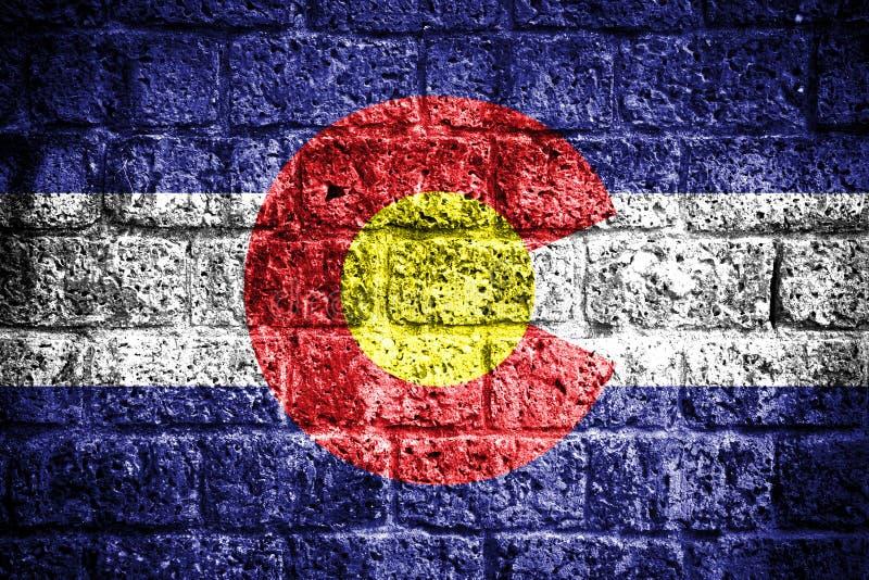 Colorado flag. On old brick wall stock photo