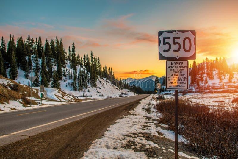Colorado huvudväg 550 royaltyfri fotografi