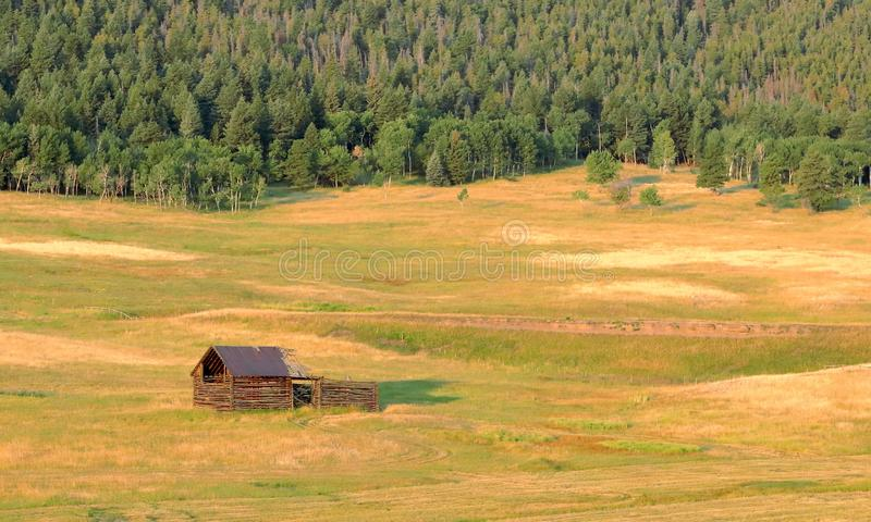 Colorado landscape with old abandoned wooden shack. Squaw Pass road near Evergreen, Colorado royalty free stock photography