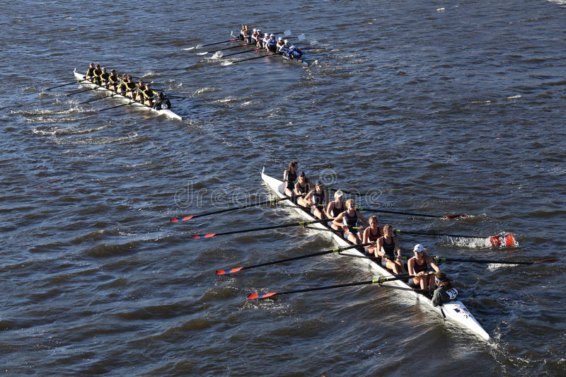 Colorado (left) JWU Rowing (right) Illinois(bottom) races in the Head of Charles stock image