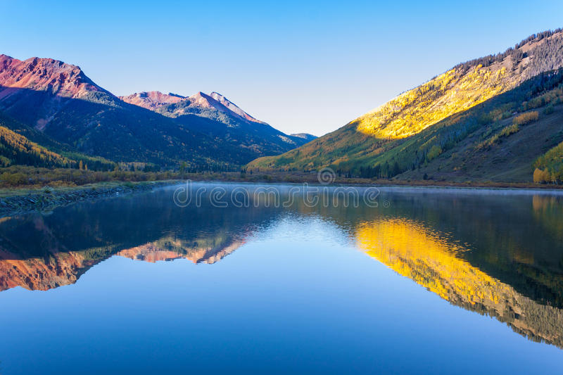 Colorado Mountain Lake in Fall stock photography