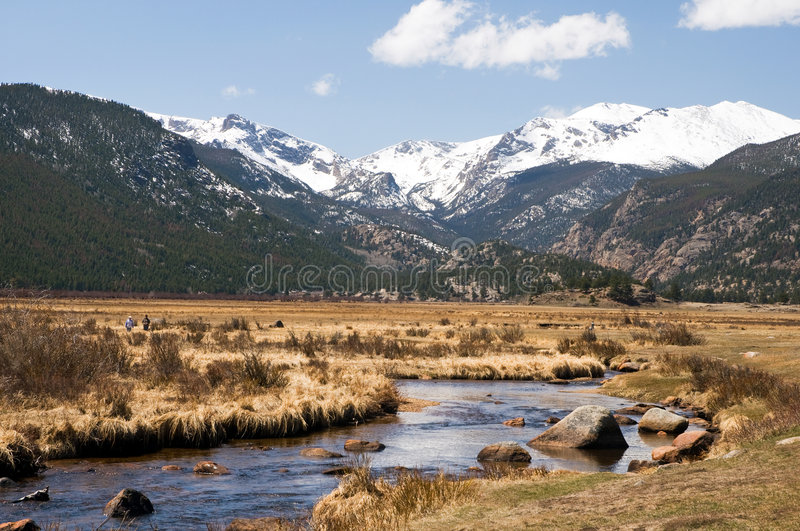 Colorado mountain stream. A scenic landscape with a cold Colorado mountain stream running through a valley in early spring stock photo