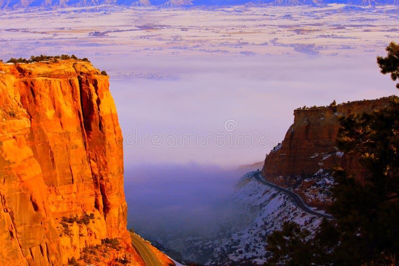 Dense Fog in Fruita Canyon stock photography