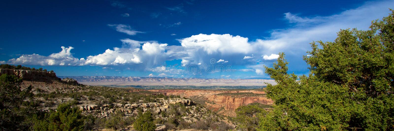 Panoramic view looking east toward Grand Junction from Colorado National Monument stock images