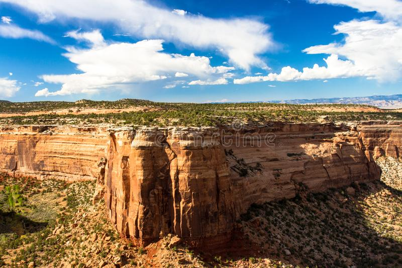 Massive rock walls and vast canyons characterize Colorado National Monument. Ute Canyon, only half of which is shown here, is an immense geological feature in stock photos