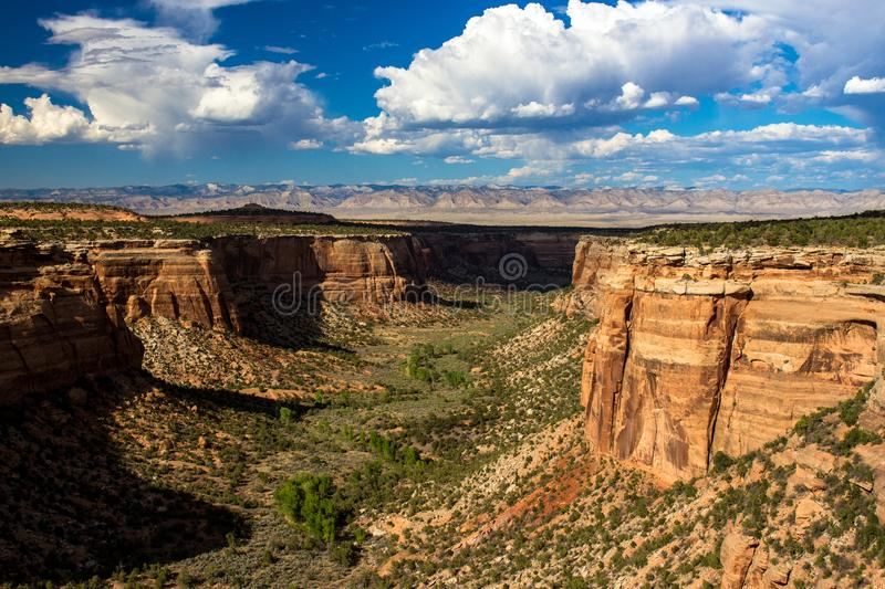 Massive rock walls and vast canyons characterize Colorado National Monument. Ute Canyon, only half of which is shown here, is an immense geological feature in stock photo