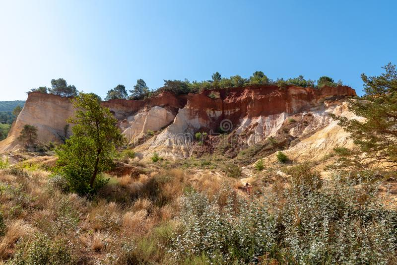 Colorado Provencal colorful rock formations from ocher in Provence France. The Colorado Provencal colorful rock formations from ocher in Provence France stock photos