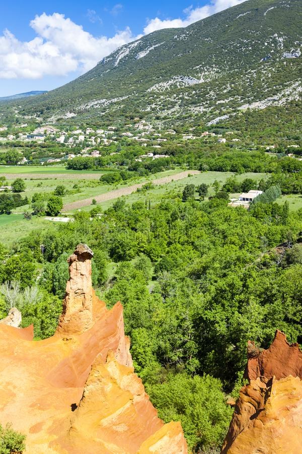 Colorado Provencal, Provence, France. Outdoors, outside, exteriors, europe, western, vaucluse, luberon, le, rustrel, natural, reservation, nature, landscape royalty free stock images