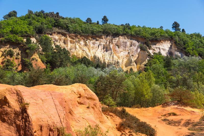 Colorado provencal in Rustrel. Red rocks of Colorado provencal in Rustrel, France royalty free stock images