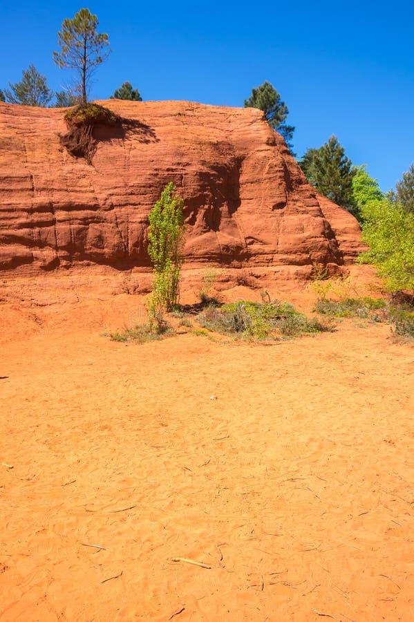 Colorado provencal in Rustrel. Red rocks of Colorado provencal in Rustrel, France stock image