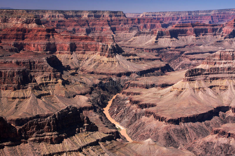 Colorado river. Flowing 1 mile below the ridge of the Grand Canyon, Arizona, USA stock image