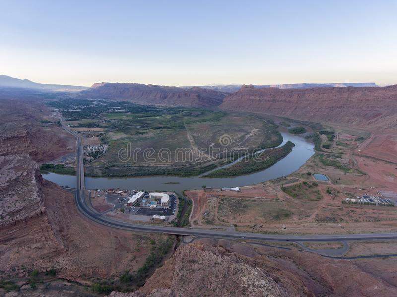 Colorado River aerial view, Moab, Utah, USA. Aerial view of Colorado River and La Sal Mountains near Arches National Park at sunset in Moab, Utah, USA stock photos