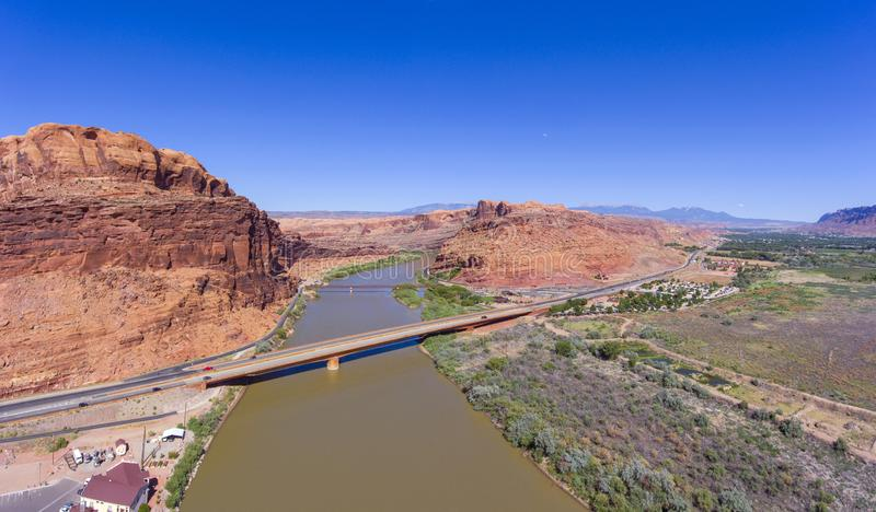 Colorado River aerial view, Moab, Utah, USA. Aerial view of Colorado River near Arches National Park panorama in Moab, Utah, USA royalty free stock photos