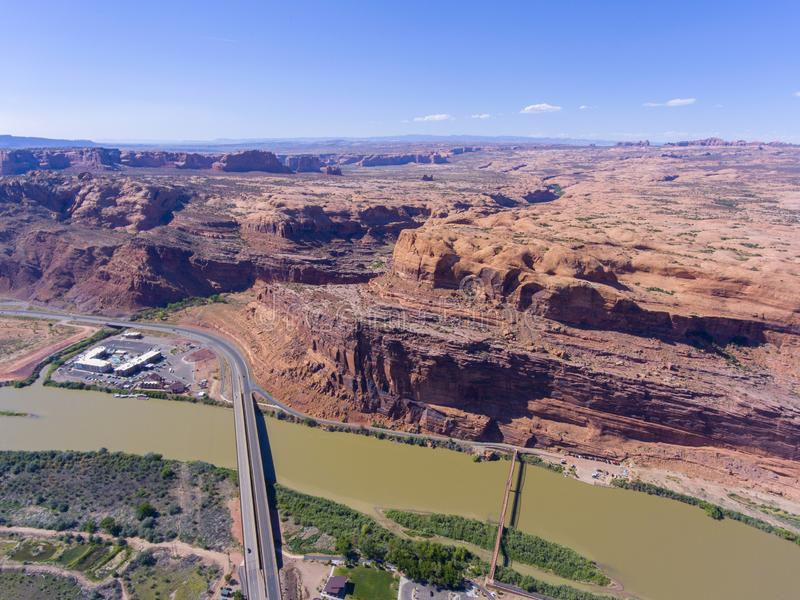 Colorado River aerial view, Moab, Utah, USA. Aerial view of Colorado River near Arches National Park at sunset in Moab, Utah, USA stock photography