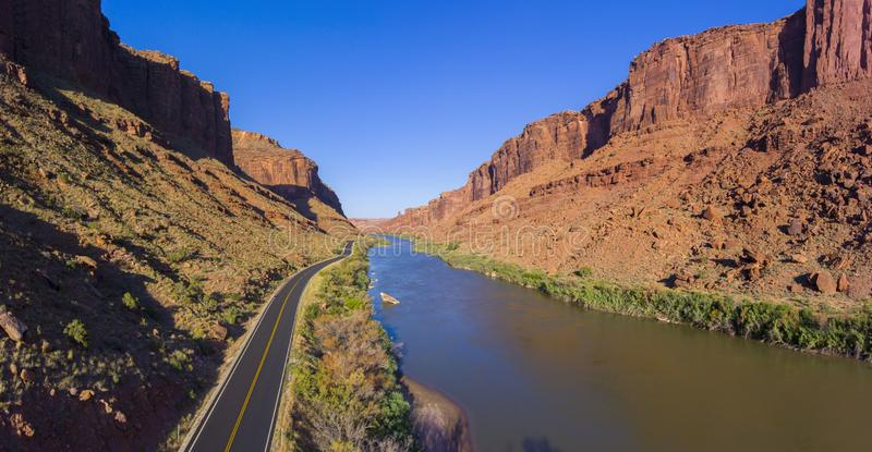 Colorado River aerial view, Moab, Utah, USA. Colorado River aerial view panorama near Arches National Park, Moab, Utah, USA royalty free stock image