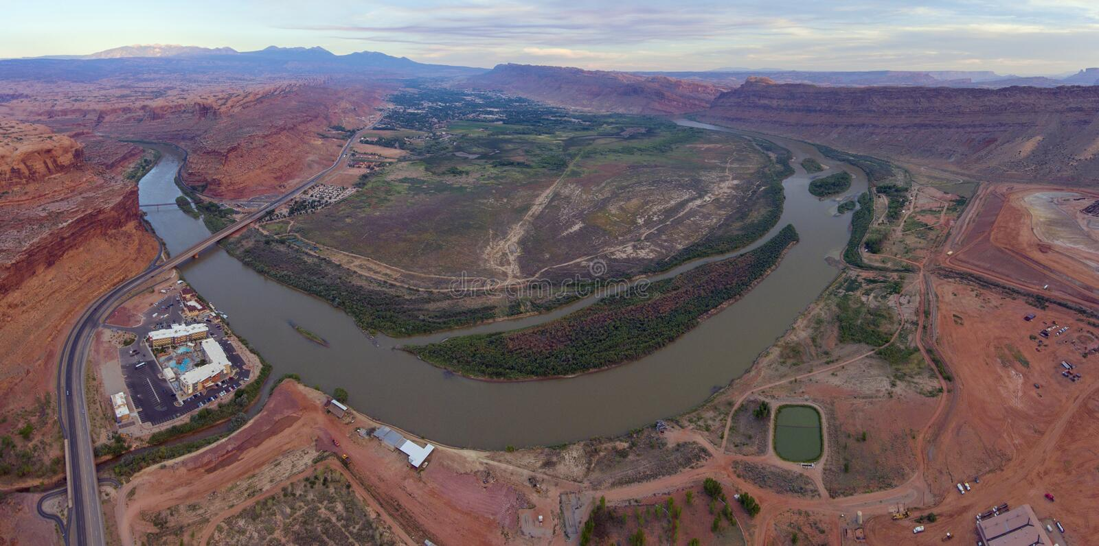 Colorado River aerial view, Moab, Utah, USA. Colorado River aerial view panorama near Arches National Park, Moab, Utah, USA royalty free stock images