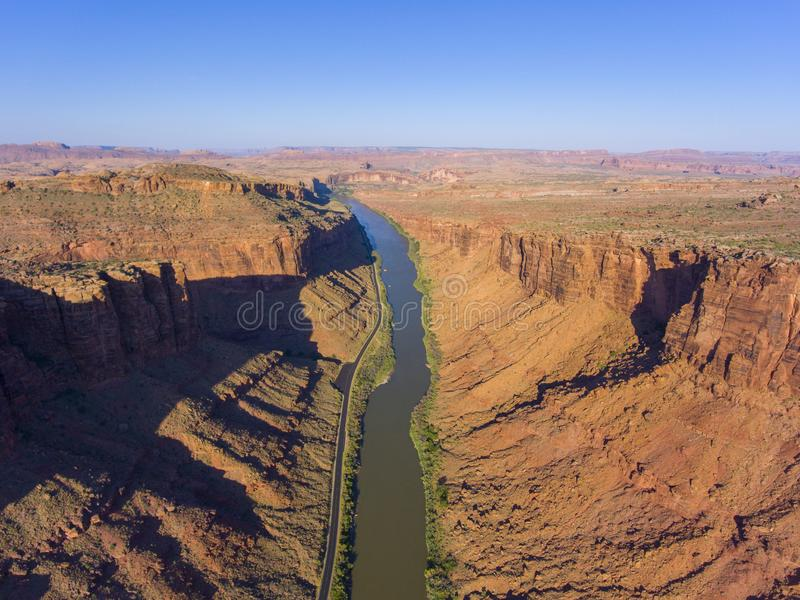 Colorado River aerial view, Moab, Utah, USA. Colorado River aerial view panorama near Arches National Park, Moab, Utah, USA stock photos